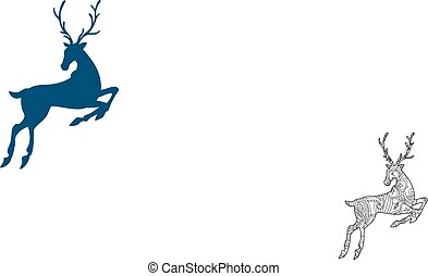 Coloring page with bohemian running deer isolated on white background.