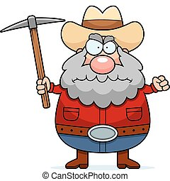 Angry Prospector - A cartoon prospector with an angry...