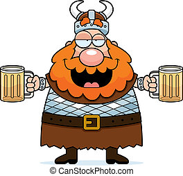 Drunk Viking - A happy cartoon viking drunk on beer