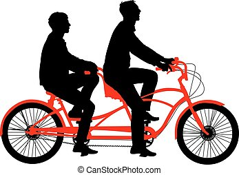 Silhouette of two athletes on tandem bicycle. Vector...
