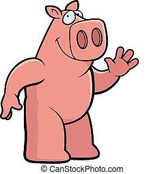 Pig Waving - A happy cartoon pig waving and smiling.