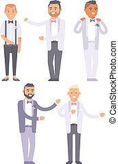 Wedding groom man vector isolated - Happy groom boy on...