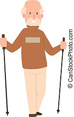 Nordic walking sport vector character - Nordic walkers...