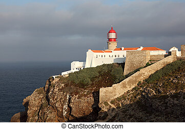 Lighthouse at Cape St. Vincent in Algarve, Portugal