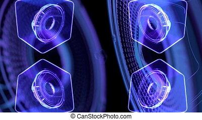 vj musical motion footage - neon speakers. 3D render - vj...