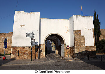 Gate to the old town of Faro, Algarve Portugal