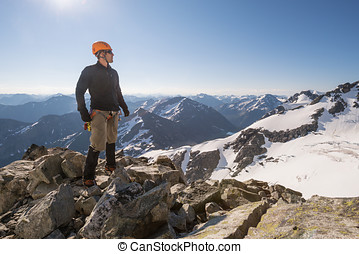 Mountain climbing in the joffre range - A mountain climber...