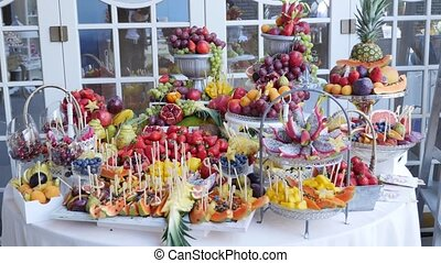 Colorful Tropical Fruit Buffet on celebrate.