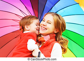 Happy family mum and child daughter with rainbow colored...