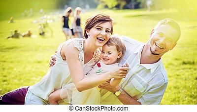 su, feliz, hija, juego, padres