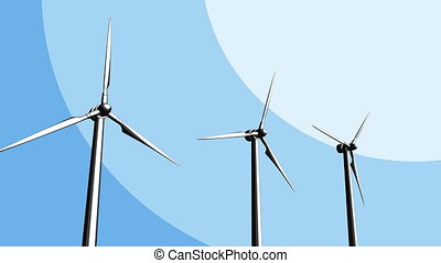Three wind generators loopable sketch animation. 4K -...