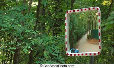 Street mirror near forest road. Safety equipment, 4K video -...