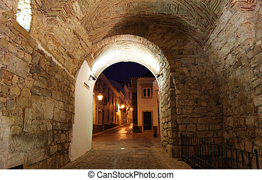 Entry arch to the old town of Faro, Portugal