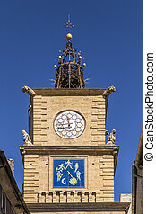 La Tour de L Horloge in Salon de Provence under blue sky