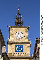 La Tour de L Horloge in Salon de Provence under blue sky