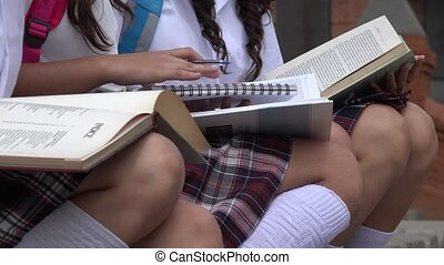 Female Students Reading And Writing