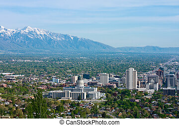 Salt Lake City on a sunny day with view of the capitol...