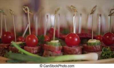 A table spread with delicious finger foods