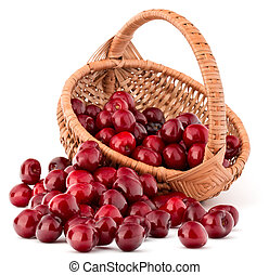cherry berries in wicker basket isolated on white background...