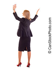 woman with arms raised - Young business woman with arms...