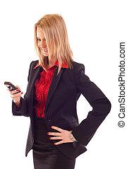 woman sending a text message - business woman sending a text...