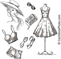 fashion illustration collection of summer clothing and...