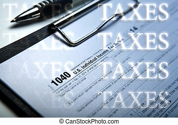 filling tax form on desktop with inscriptions taxes - office...
