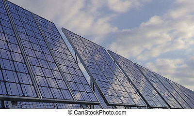 Modern solar panels reflecting cloudy sky. Renewable ecologic energy generation. 3D rendering