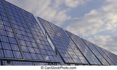 Modern solar panels reflecting cloudy sky. Renewable ecologic energy generation. 3D rendering