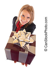 woman with gift box - Business woman with gift box. Isolated...