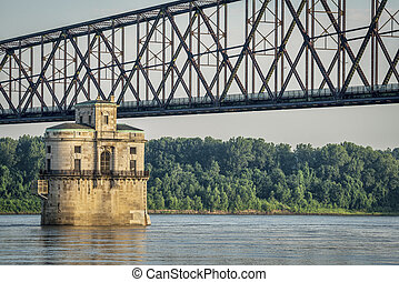 Water tower on Mississippi River - Historic water intake...
