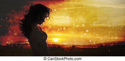 站立, 婦女, 黑色半面畫像, 年輕, 領域, 傍晚