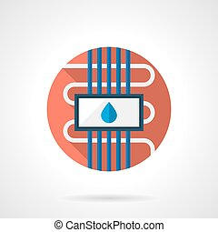 Water floor heating round color flat vector icon