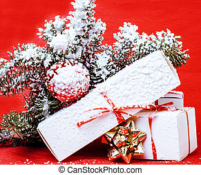 christmas decoration , red background with snow for post...