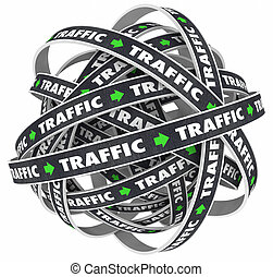 Traffic Road Ball Transportation Moving Word 3d Illustration