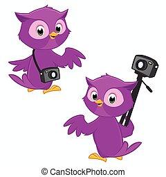 Cartoon Owl Photographer - owl photographer symbolizing...