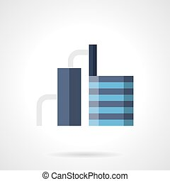 Industrial refinery flat color vector icon - Abstract blue...