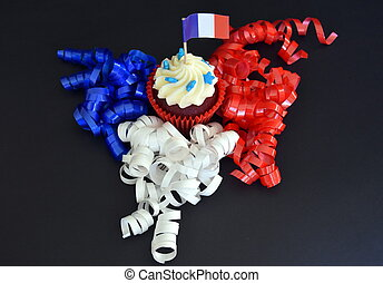 Happy Bastille Day cupcake with red, white and blue french...