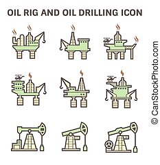 Oil rig icon - Oil rig and oil drilling vector icon sets.