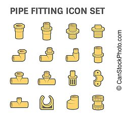 Pipe fitting icon - Vector icon of pipe fitting or pipe...