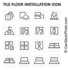 Tile floor icon - Tile floor installation and material...