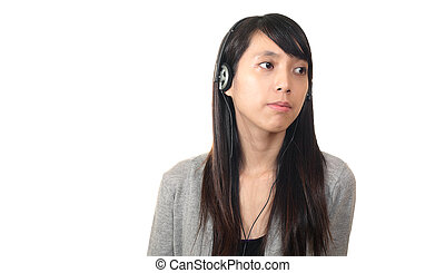 girl listen to music with headphones, chinese