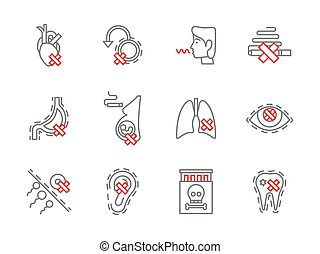 Danger of smoking simple line vector icons set