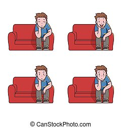 Watching tv alone.eps - Man alone watching TV on couch