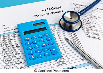 Health care cost concept with calculator - Healthcare cost...