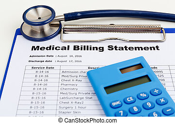 Medical bill with stethoscope - Medical cost concept with...