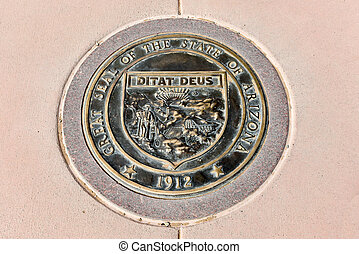 Arizona - Four Corners - Arizona state seal at the Four...