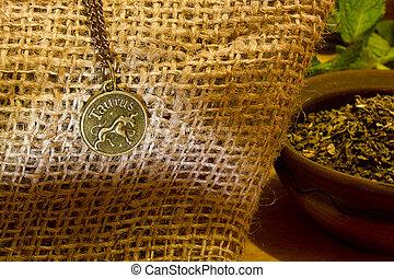 Zodiacal symbol of Taurus - The zodiacal symbol of Taurus,...