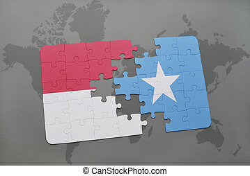 puzzle with the national flag of indonesia and somalia on a...