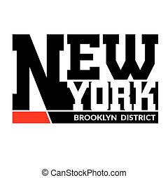 T shirt typography New York Brooklyn - T shirt typography...